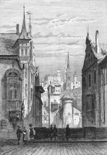Associate Product GERMANY. Nuremberg, with St Sebald's Church and the Castle c1893 old print