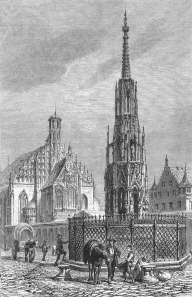 Associate Product GERMANY. Nuremberg. The Schonebrunnen and Marien-Kirche c1893 old print