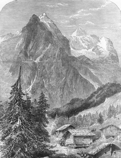 Associate Product SWITZERLAND. The Wellhorn and Wetterhorn c1893 old antique print picture