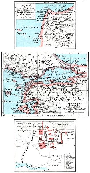 Associate Product TURKEY. Troy; Propontis(Sea of Marmara); Olympia German excavations 1956 map