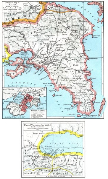 Associate Product GREECE. Map of Attica; Insets. Harbors Athens; plan Thermopylae, 480 BC 1956
