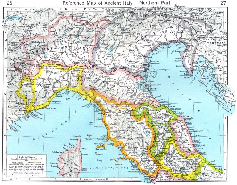 Associate Product ITALY. Reference Map of Ancient Italy Northern Part 1956 old vintage chart