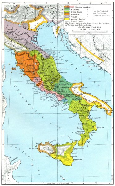 Associate Product ITALY. The Growth of Roman Power in Italy to 218 B C 1956 old vintage map