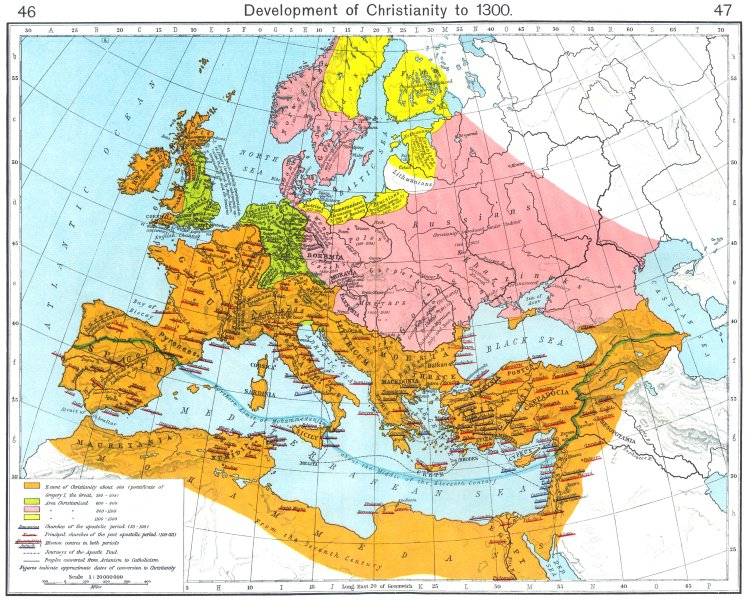 Associate Product EUROPE. Development of Christianity to 1300 1956 old vintage map plan chart