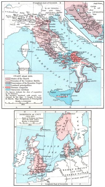 Associate Product ITALY. c.1050; Insets. Patrimony of St Peter; Dominions Cnut 1014-35 1956 map
