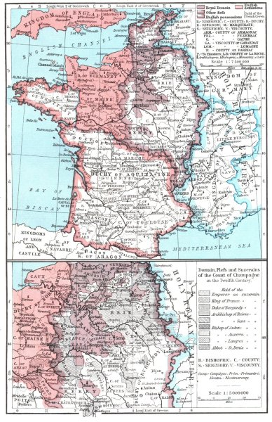 Associate Product FRANCE. 1154-84; Domain Fiefs & Suzerains of Count Champagne, 12C 1956 old map