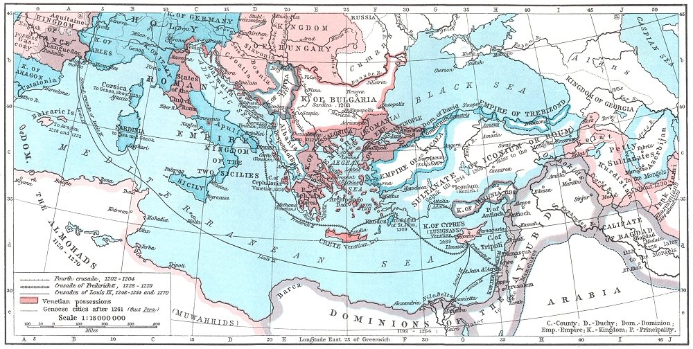 Associate Product EUROPE. The Mediterranean Lands after 1204 1956 old vintage map plan chart