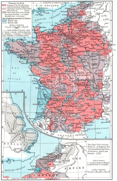 Associate Product FRANCE IN 1328. Wool farming UK, manufacturing Flanders Artois Brabant 1956 map