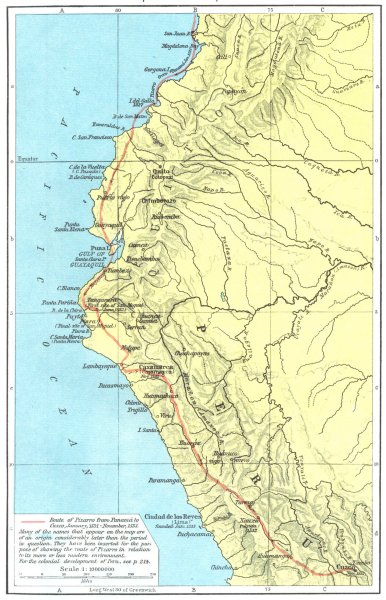 Associate Product PERU. The Conquest of Peru, 1531-1533 1956 old vintage map plan chart