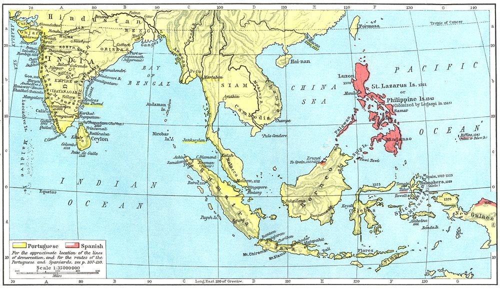 Associate Product ASIA. Portuguese Colonial Dominions & Malay Archipelago, 1498-1580 1956 map