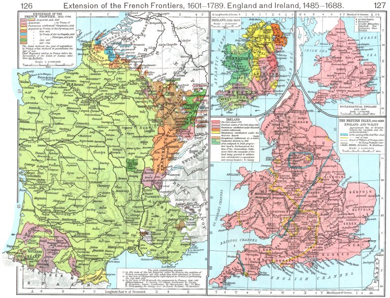 Associate Product FRANCE. Frontiers, 1601-1766; British Isles, 1485-1688; Ecclesiastical 1956 map