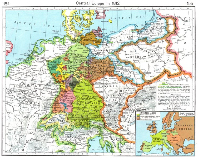Associate Product EUROPE. Central Europe in 1812; Inset map of Europe in 1812 1956 old