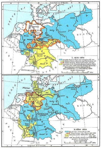Associate Product GERMANY. German Zollverein(Customs-Union)1828-1872. I-1834; II post 1956 map