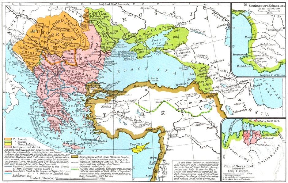 Associate Product OTTOMAN EMPIRE. 1683-1913; SW Crimea 1854; plan Sevastopol-1855 1956 old map