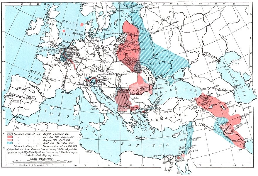 Associate Product EUROPE. Principal seats of War, 1914-1918 1956 old vintage map plan chart