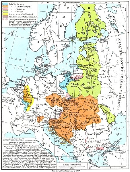 Associate Product EUROPE. Treaty Adjustments, 1919-1926 1956 old vintage map plan chart
