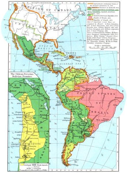 Associate Product SOUTH AMERICA. Hispanic, 1828-1929; Chilean-Peruvian Bolivian Frontier 1956 map
