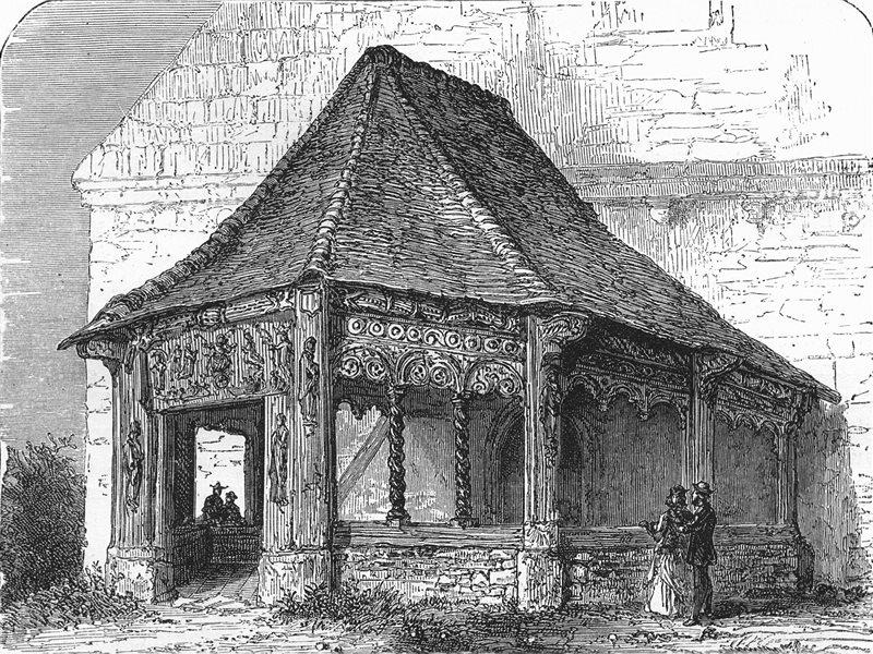 Associate Product SEINE-MARITIME. Church Porch, Bosc-Bordel, Lower Seine c1878 old antique print