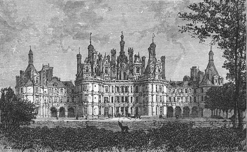 Associate Product LOIR-ET-CHER. Loire valley. Chateau de Chambord c1878 old antique print