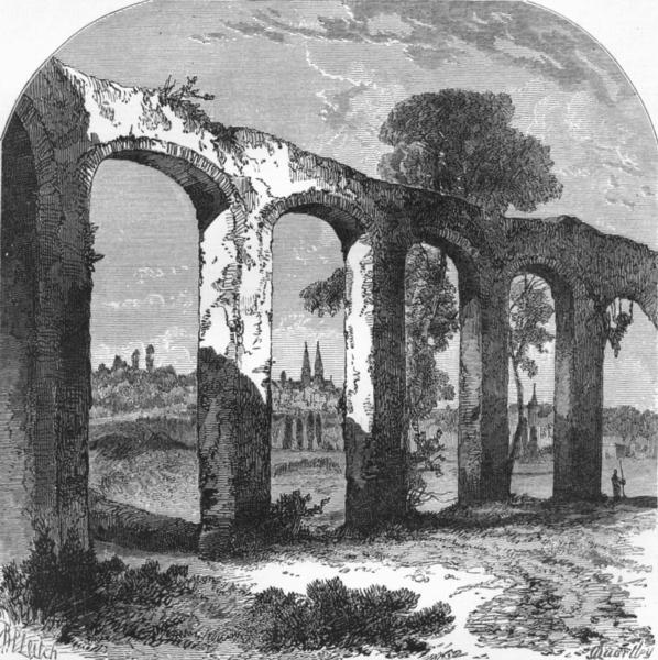 Associate Product LOIRE. Loire valley. Aqueduct, Poictiers c1878 old antique print picture