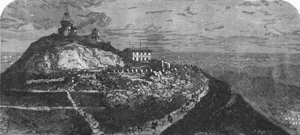Associate Product PUY-DE-DÔME. Summit with Observatory and Roman remains c1878 old antique print