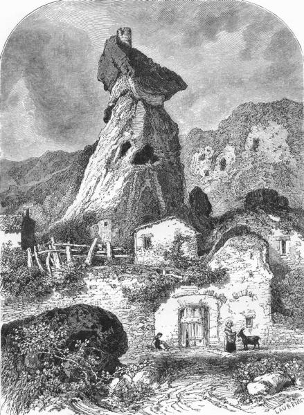 Associate Product PUY-DE-DÔME. Auvergne and the Cevennes. Tower of Maurifolet c1878 old print