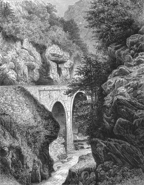 Associate Product FRANCE. Bridge of Hourat, central Pyrenees c1878 old antique print picture