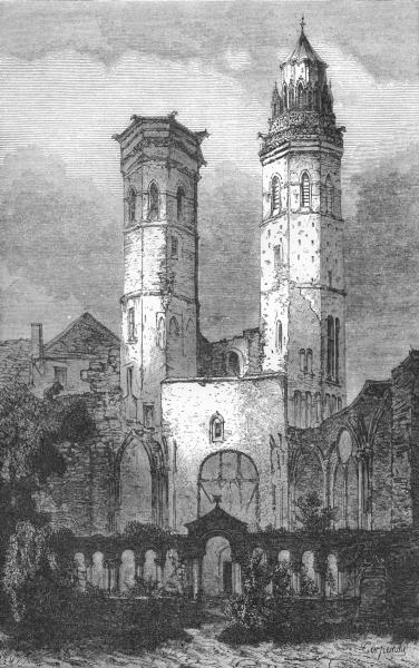 Associate Product SAÔNE-ET-LOIRE. Ruins of St Vincent, Mâcon c1878 old antique print picture
