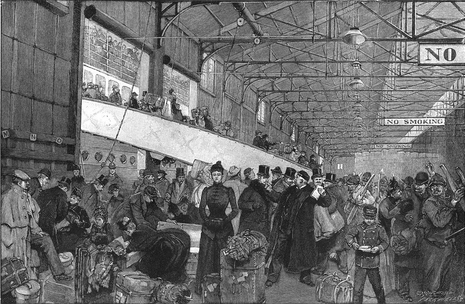 Associate Product NEW YORK. Custom's officers examining baggage, a steamer's wharf at 1891 print