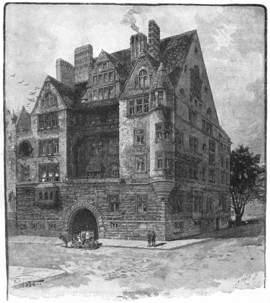 NEW YORK. A New York Mansion 1891 old antique vintage print picture