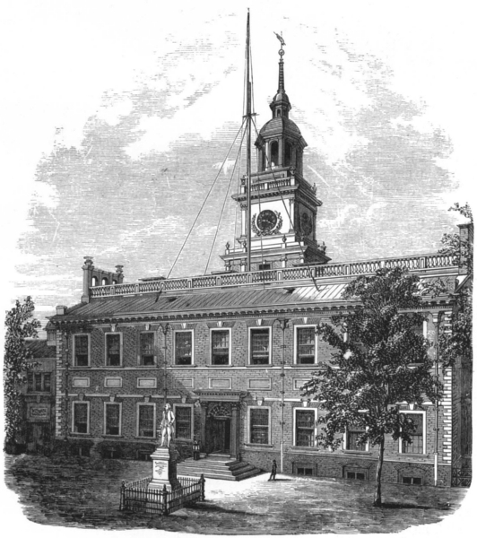 Associate Product PENNSYLVANIA. Independence Hall, from Chestnut Street 1891 old antique print