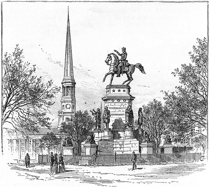 Associate Product WASHINGTON. South. Statue of, State House, Richmond 1891 old antique print