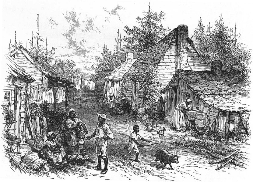 Associate Product ALABAMA. The South. A Negro Village in Alabama 1891 old antique print picture