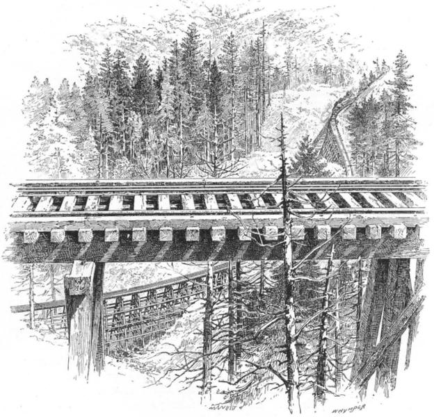 Associate Product CALIFORNIA. The Big Loop on the Shasta Railway, near McCloud 1891 old print