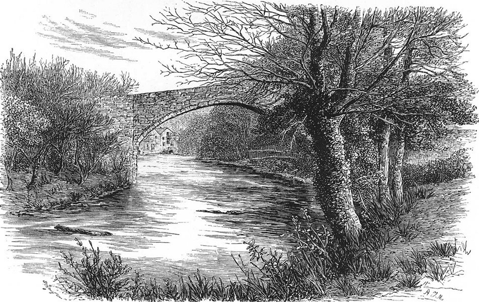 SCOTLAND. The Auld Brig of Doon c1886 old antique vintage print picture