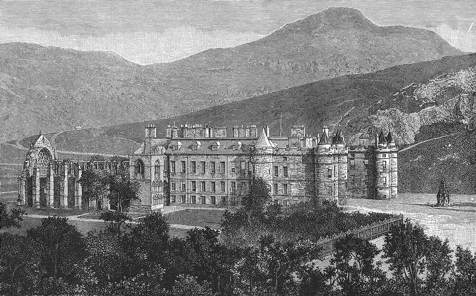 Associate Product SCOTLAND. Holyrood Palace and Chapel, with Arthur's Seat c1886 old print