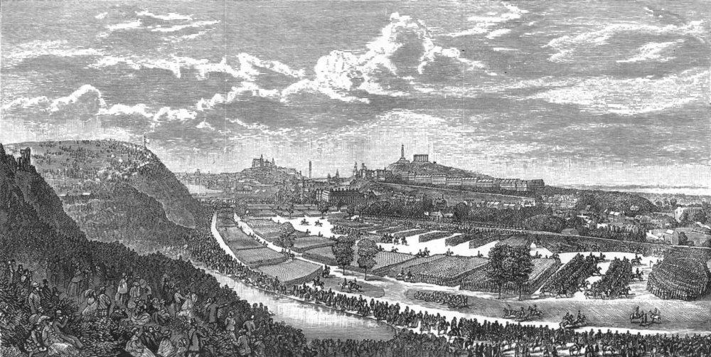 Associate Product SCOTLAND. Queen's Park, Edinburgh. Review of Scottish Troops, Aug 7, 1860 c1886