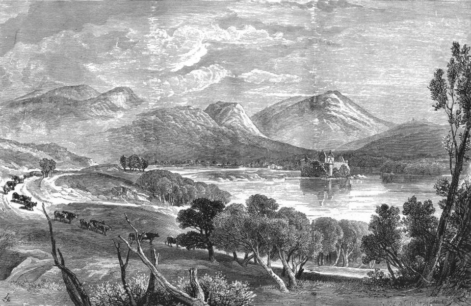 Associate Product SCOTLAND. Western Highlands. Head of Loch Awe & Kilchurn Castle c1886 print