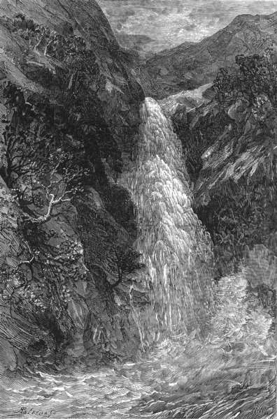 Associate Product SCOTLAND. Western Highlands. Lower fall of Foyers c1886 old antique print