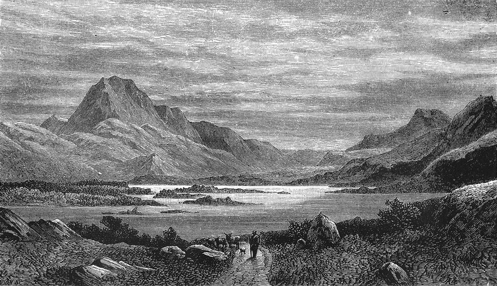 Associate Product SCOTLAND. Western Highlands. Loch Maree, with Ben Slioch c1886 old print