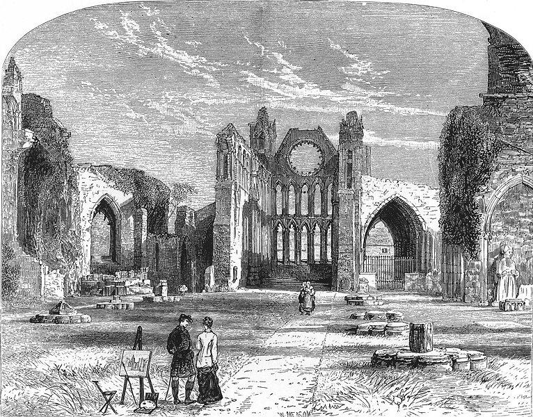 SCOTLAND. The Central Highlands. Elgin Cathedral c1886 old antique print