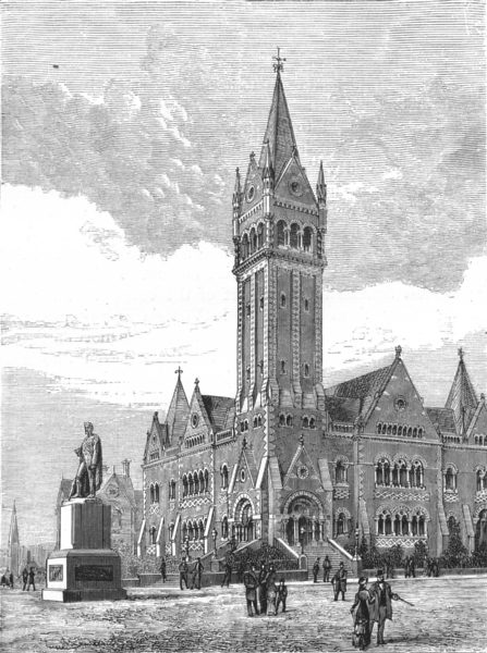 Associate Product AUSTRALIA. The Independent Church, Collins Street, Melbourne 1886 old print