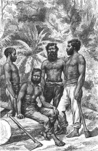 Associate Product AUSTRALIA. Semi-Civilised Victorian Aborigines 1886 old antique print picture