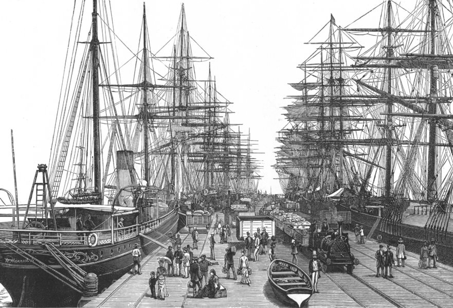 Associate Product AUSTRALIA. A Railway Pier in Melbourne in 1886 1886 old antique print picture