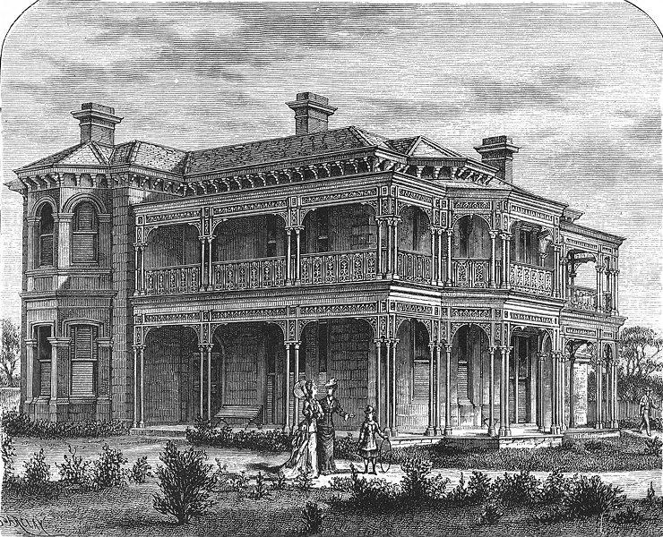 Associate Product AUSTRALIA. A Melbourne Suburban House 1886 old antique vintage print picture