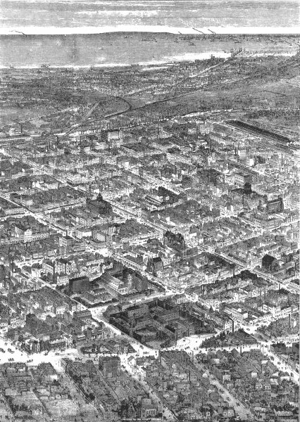 Associate Product AUSTRALIA. Bird's-Eye Melbourne, looking Southwards to sea 1886 old print