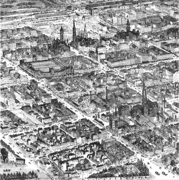 Associate Product AUSTRALIA. Bird's-Eye view of Central Melbourne 1886 old antique print picture