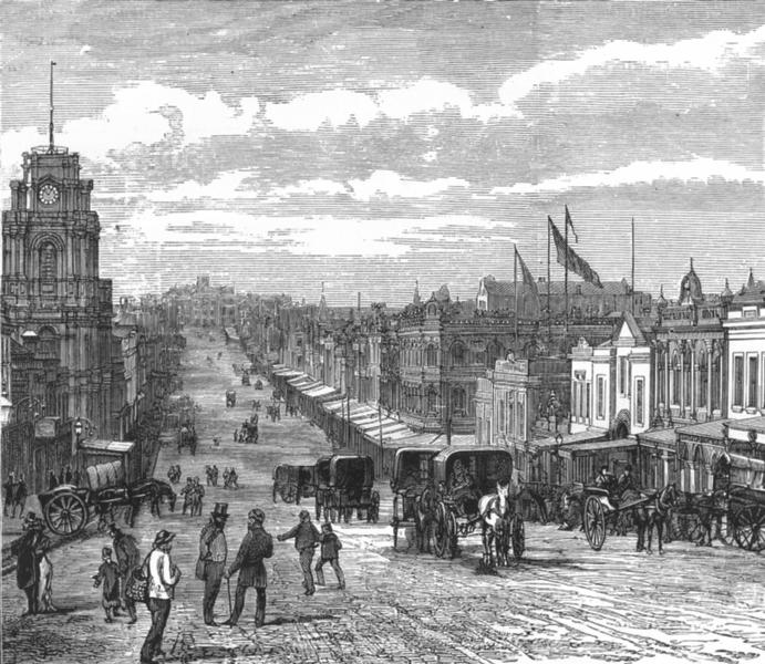 Associate Product AUSTRALIA. Bourke Street, Melbourne, looking East 1886 old antique print