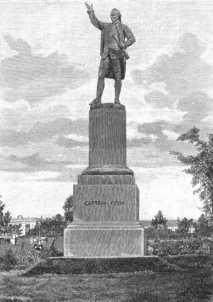 Associate Product AUSTRALIA. New South Wales. Statue of Captain Cook at Sydney 1886 old print