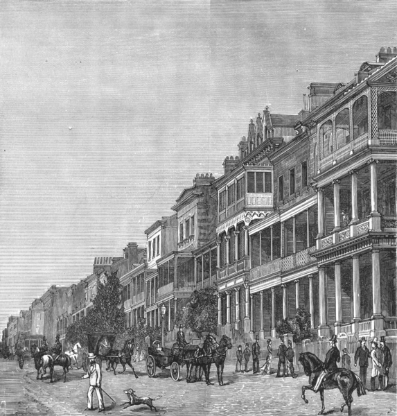Associate Product AUSTRALIA. New South Wales. Macquarie Street, Sydney 1886 old antique print